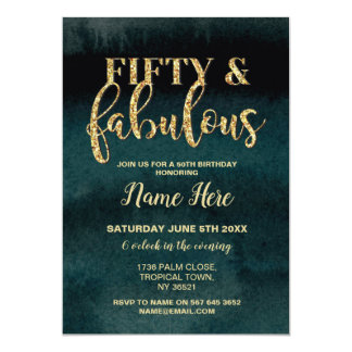 50th Fifty & Fabulous Birthday Party Gold Invite