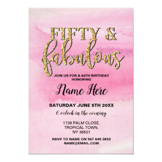 50th Fifty & Fabulous Birthday Party Pink Invite