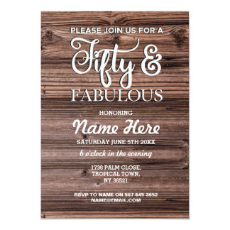 50th Fifty & Fabulous Birthday Party Wood Invite