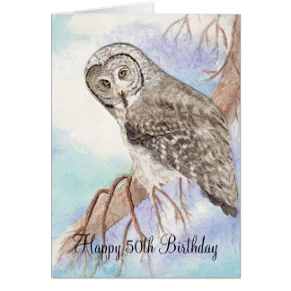 50th Funny Birthday Owl Card