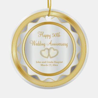 50th Gold and White Wedding Anniversary Ceramic Ornament