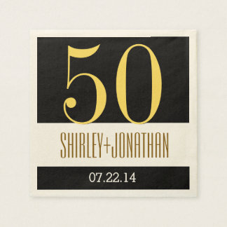 50th Gold Anniversary Modern Gold and Black V02 Disposable Napkins