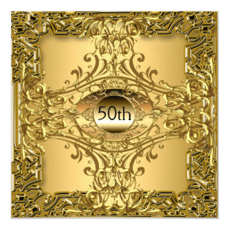 50th Gold Birthday Party Luxury Card