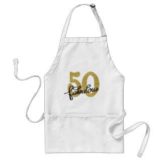 50th Gold Black White | Elegant 50 Fabulous Standard Apron