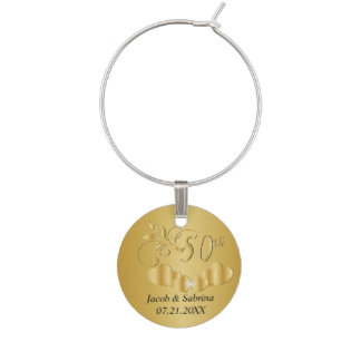50th Gold Leaf Wedding Anniversary | DIY Text Wine Glass Charms