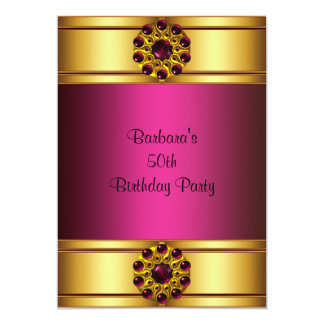 50th Gold Ruby Pink 50th Birthday Invitation