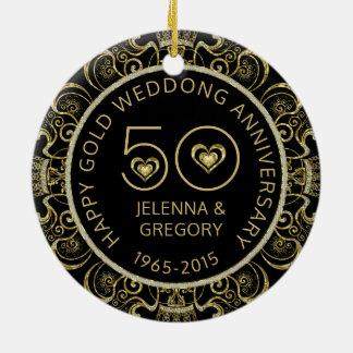 50th Gold Wedding Anniversary Black & Gold Glitter Round Ceramic Ornament