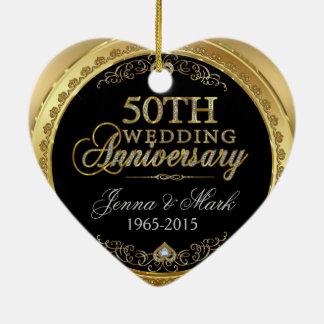 50th Gold Wedding Anniversary Ceramic Heart Ornament