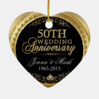 50th Gold Wedding Anniversary Ceramic Ornament