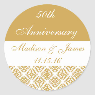 50th Gold Wedding Anniversary Classic Round Sticker