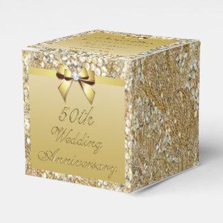 50th Gold Wedding Anniversary Custom Thank You Favor Box