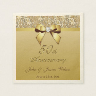 50th Gold Wedding Anniversary Disposable Napkins