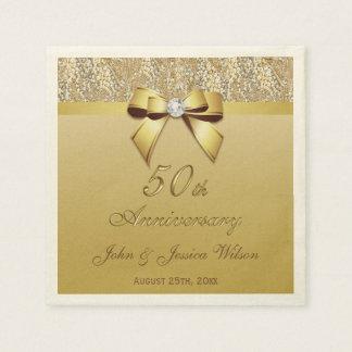 50th Gold Wedding Anniversary Disposable Napkins