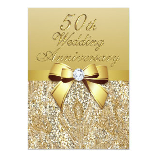 "50th Gold Wedding Anniversary Faux Bow Sequins 5"" X 7"" Invitation Card"