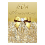 """50th Gold Wedding Anniversary Faux Sequins and Bow 5"""" X 7"""" Invitation Card"""