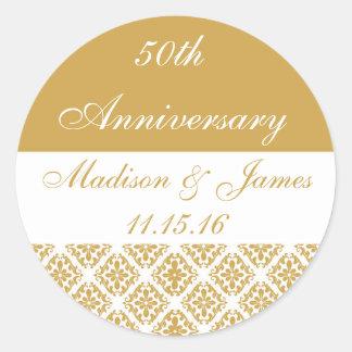 50th Gold Wedding Anniversary Round Sticker
