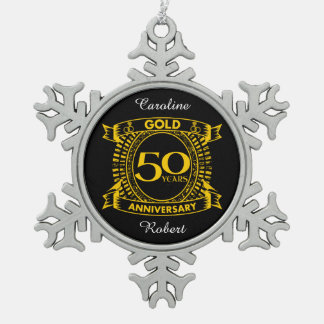 50th Gold Wedding Anniversary Snowflake Pewter Christmas Ornament