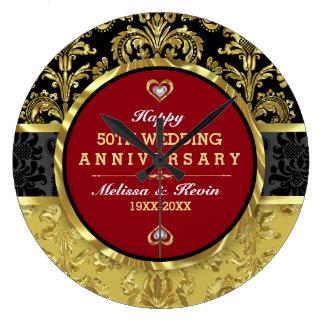 50th Gold Wedding Anniversary Wallclocks