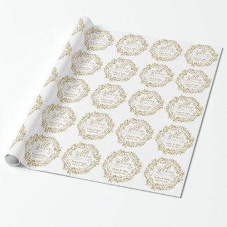 50th Golden Anniversary Personalized Gold White Wrapping Paper