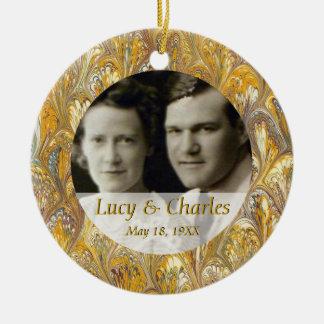 50th Golden Anniversary Photo Keepsake Round Ceramic Ornament