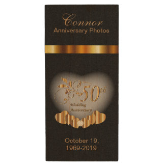 50th Golden Anniversary Photos Wood USB 2.0 Flash Drive