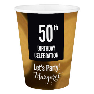 50th Golden Birthday Celebration, Black and Gold Paper Cup