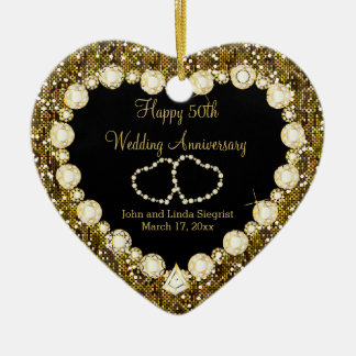 50th Golden Glitter Wedding Anniversary Ceramic Heart Ornament