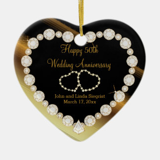 50th Golden Photo Wedding Anniversary Ceramic Heart Ornament
