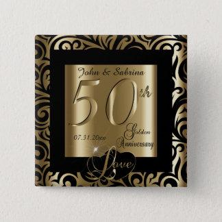 50th Golden Wedding Anniversary 2 Inch Square Button