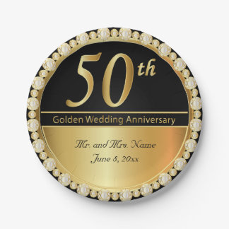 50th Golden Wedding Anniversary 7 Inch Paper Plate