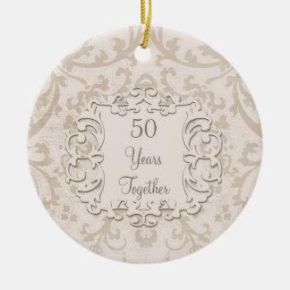 50th Golden Wedding Anniversary Custom Photo Round Ceramic Ornament