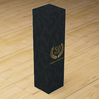 50th Golden Wedding Anniversary Customizable Wine Boxes