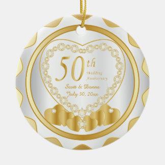 50th Golden Wedding Anniversary | DIY Name & Date Ceramic Ornament