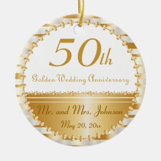 50th Golden Wedding Anniversary | DIY Name & Date Round Ceramic Ornament