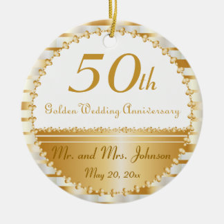 50th Golden Wedding Anniversary | DIY Name & Date Round Ceramic Ornament
