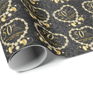50th Golden Wedding Anniversary | DIY Name & Date Wrapping Paper