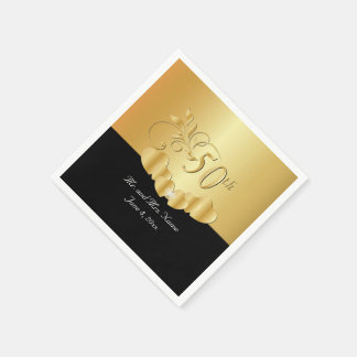 50th Golden Wedding Anniversary | DIY Text Paper Napkins