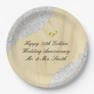 50th Golden Wedding Anniversary Faux Satin+Lace Paper Plate
