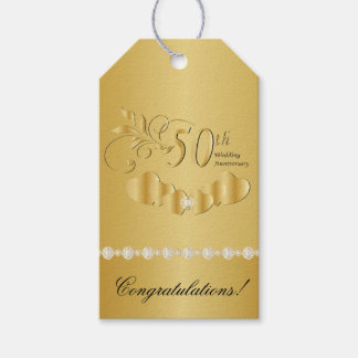 50th Golden Wedding Anniversary Gift Tags