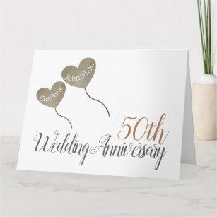 50th golden Wedding Anniversary gold balloon large Card