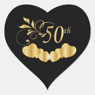 50th Golden Wedding Anniversary Heart Sticker