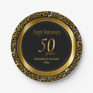 50th Golden Wedding Anniversary   Leopard Prints 7 Inch Paper Plate