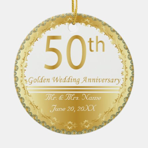 50th Golden Wedding Anniversary Ornament Christmas Tree Ornament