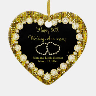 50th Golden Wedding Anniversary Ceramic Heart Ornament