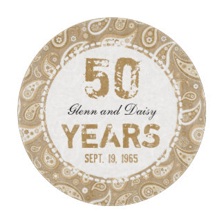 50th Golden Wedding Anniversary Paisley Pattern Cutting Board