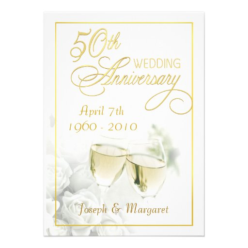 50th Golden Wedding Anniversary Party Invitations