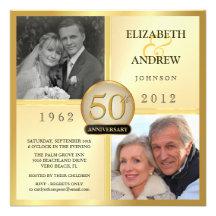 50th Golden Wedding Anniversary Photo Invitations
