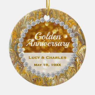 50th Golden Wedding Anniversary- Photo on Back Ceramic Ornament