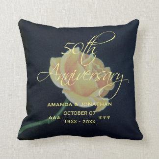 50th Golden Wedding Anniversary Rose Throw Pillow
