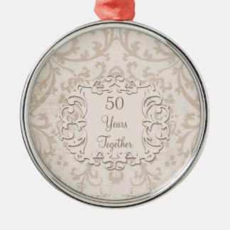 50th Golden Wedding Anniversary Silver-Colored Round Ornament